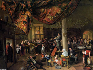 Jan Steen - A Village Wedding Feast with Revellers and a dancing Party