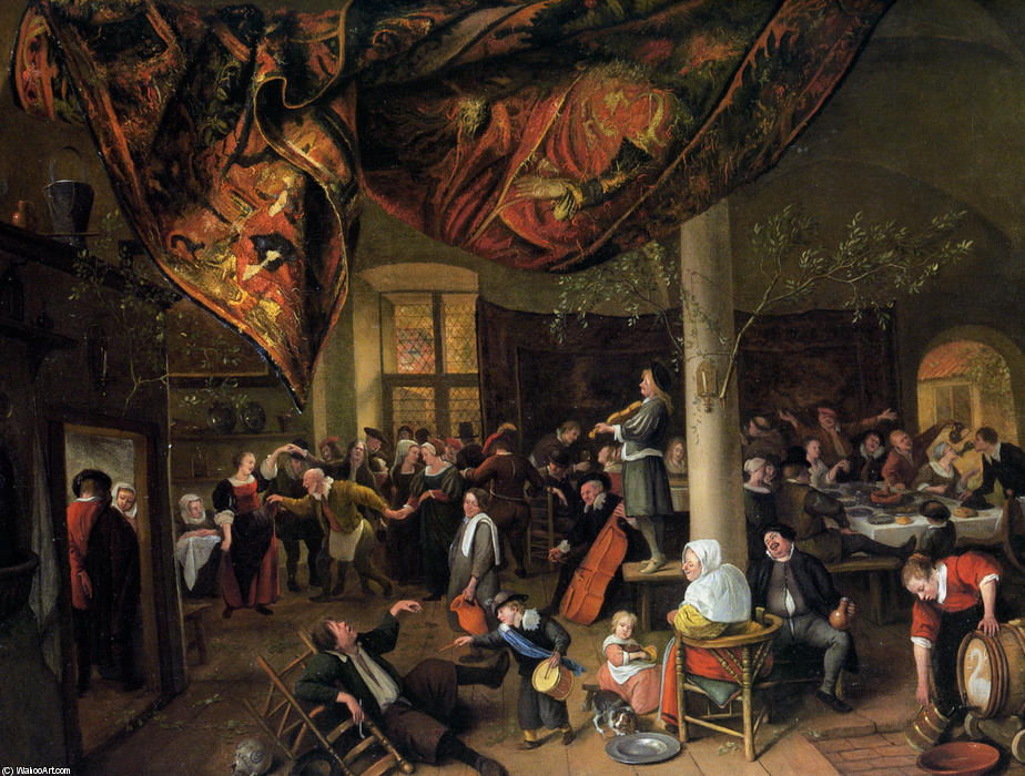 A Village Wedding Feast with Revellers and a dancing Party, Oil On Canvas by Jan Steen (1626-1679, Netherlands)