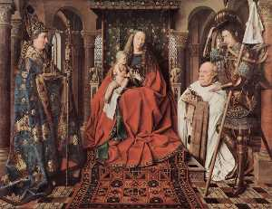Order Paintings Reproductions | Madonna and Child with Canon Joris van der Paele, 1436 by Jan Van Eyck (1390-1441, Netherlands) | WahooArt.com
