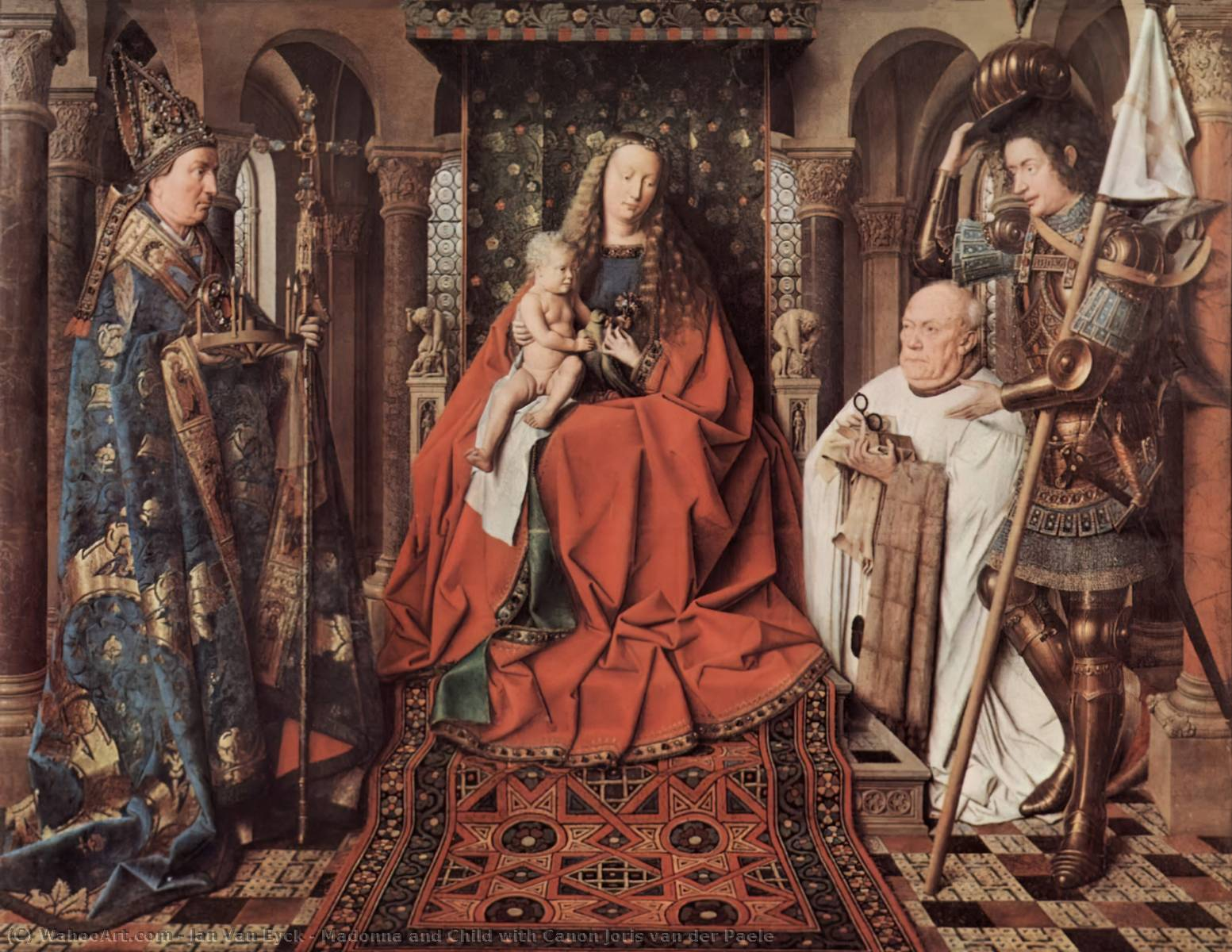 Madonna and Child with Canon Joris van der Paele, Oil On Panel by Jan Van Eyck (1395-1441, Netherlands)