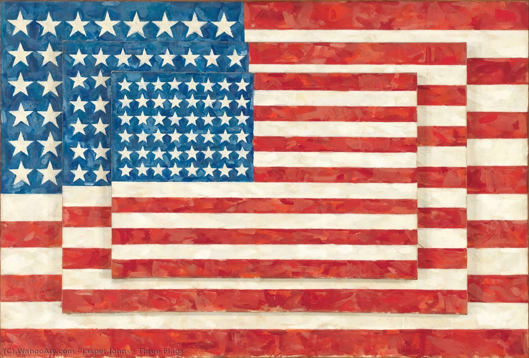 Three Flags, 1958 by Jasper Johns | Famous Paintings Reproductions | WahooArt.com