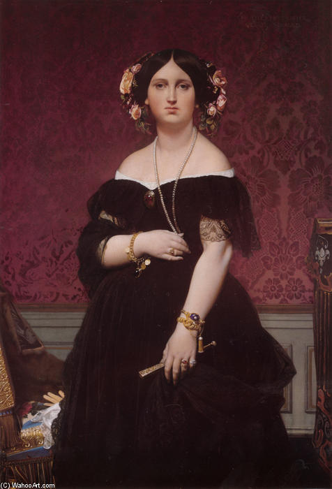 Portrait of Madame Moitessier Standing, Oil On Canvas by Jean Auguste Dominique Ingres (1780-1867, France)