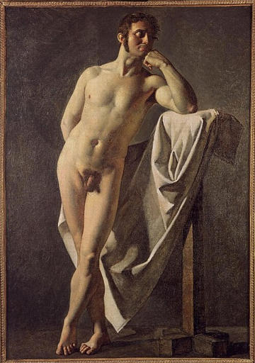 Male nude, 1801 by Jean Auguste Dominique Ingres (1780-1867, France)