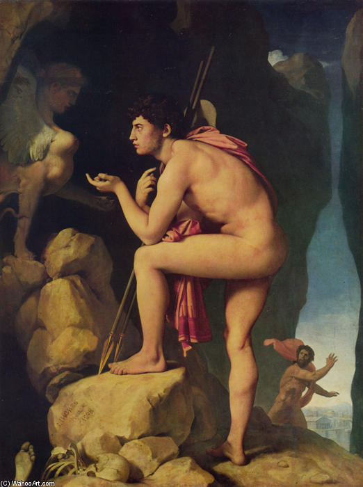 Oedipus and the Sphinx, Oil On Canvas by Jean Auguste Dominique Ingres (1780-1867, France)