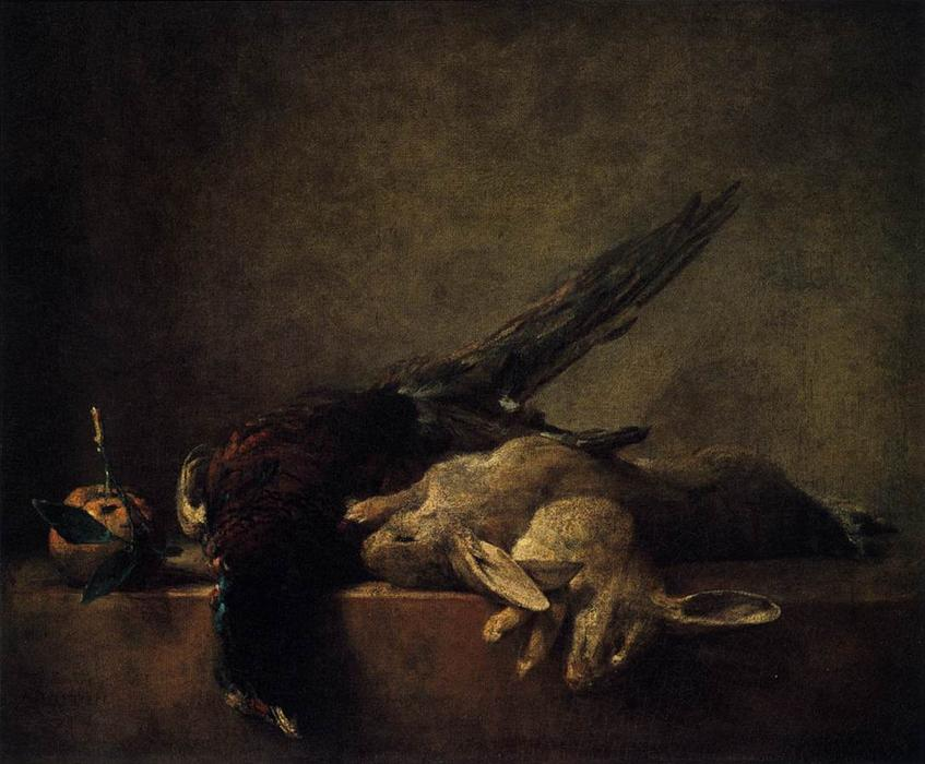 Still Life with Pheasant, 1750 by Jean-Baptiste Simeon Chardin (1699-1779, France) | Paintings Reproductions Jean-Baptiste Simeon Chardin | WahooArt.com