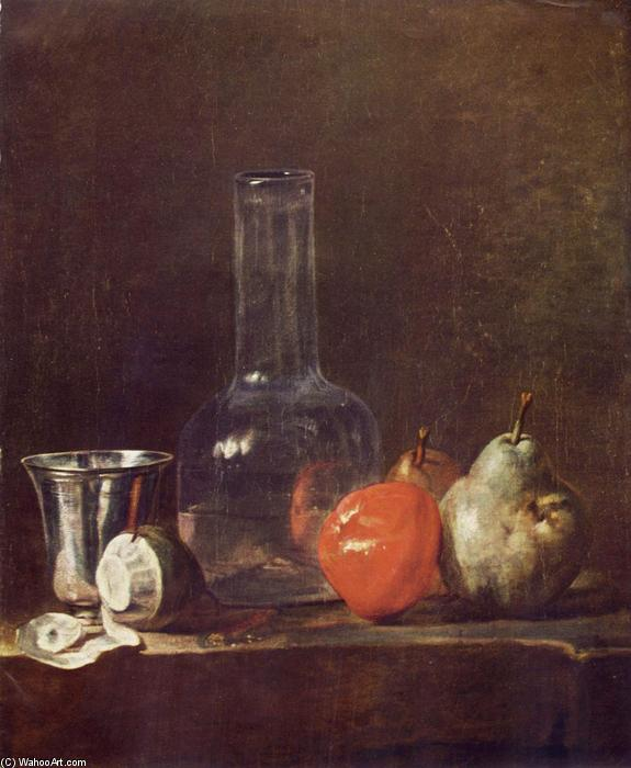 Still Life with Glass Flask and Fruit, 1750 by Jean-Baptiste Simeon Chardin (1699-1779, France) | Museum Quality Copies Jean-Baptiste Simeon Chardin | WahooArt.com