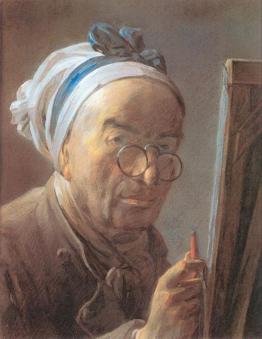 Self-Portrait with an Easel, 1779 by Jean-Baptiste Simeon Chardin (1699-1779, France) | Museum Art Reproductions Jean-Baptiste Simeon Chardin | WahooArt.com