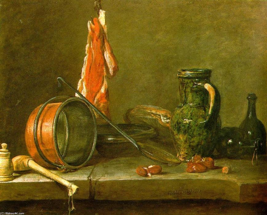 A Lean Diet with Cooking Utensils, 1731 by Jean-Baptiste Simeon Chardin (1699-1779, France) | Art Reproductions Jean-Baptiste Simeon Chardin | WahooArt.com