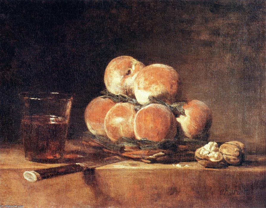 Basket of Peaches, Oil On Canvas by Jean-Baptiste Simeon Chardin (1699-1779, France)