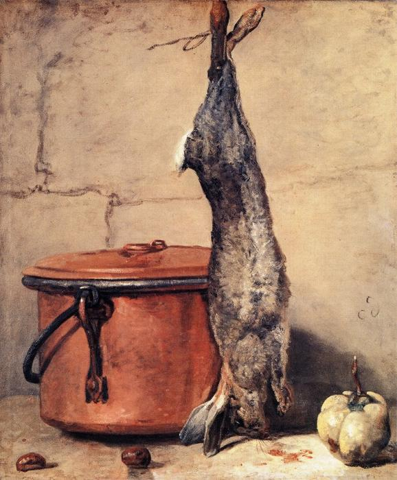 Rabbit and Copper Pot, 1735 by Jean-Baptiste Simeon Chardin (1699-1779, France) | Paintings Reproductions Jean-Baptiste Simeon Chardin | WahooArt.com