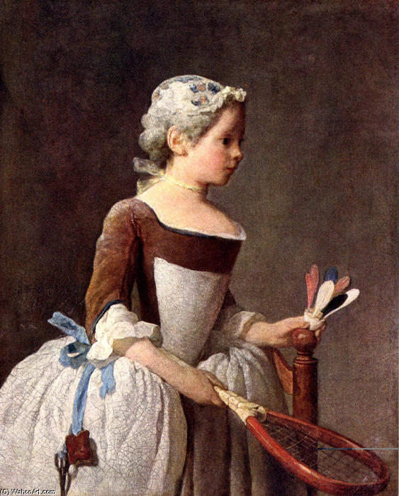 Girl with Racket and Shuttlecock, 1740 by Jean-Baptiste Simeon Chardin (1699-1779, France) | Art Reproduction | WahooArt.com
