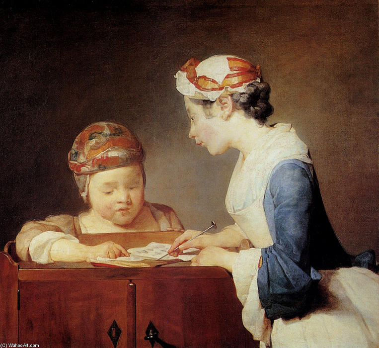 Order Museum Quality Copies | The Young Schoolmistress, 1740 by Jean-Baptiste Simeon Chardin (1699-1779, France) | WahooArt.com