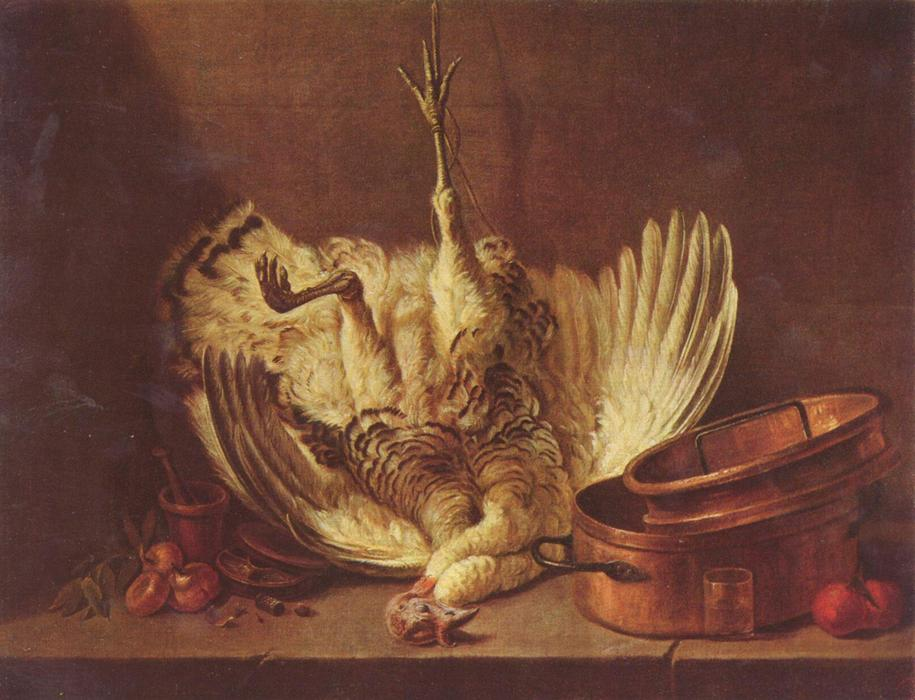 Still life with turkey hanged by Jean-Baptiste Simeon Chardin (1699-1779, France) | Museum Quality Copies Jean-Baptiste Simeon Chardin | WahooArt.com