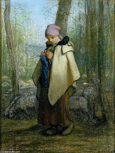Jean-François Millet - The Knitting Shepherdess