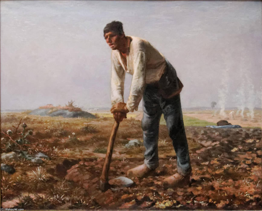 Order Famous Paintings Reproductions : The Man with the Hoe, 1862 by Jean-François Millet (1814-1875, France) | WahooArt.com