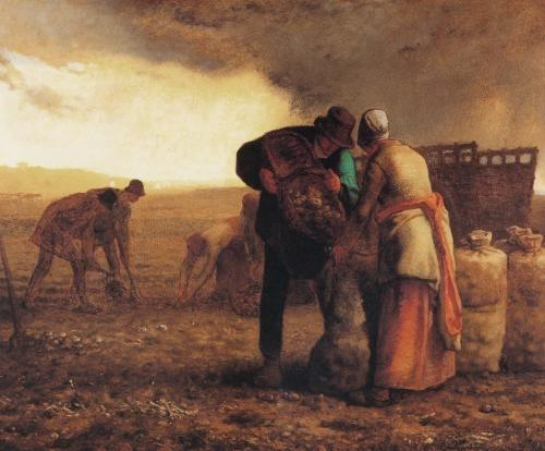 Harvesting potatoes by Jean-François Millet (1814-1875, France) | Museum Quality Reproductions | WahooArt.com