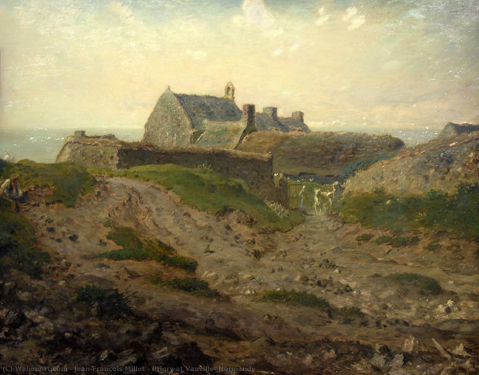 Priory at Vauville, Normandy by Jean-François Millet (1814-1875, France) | Famous Paintings Reproductions | WahooArt.com