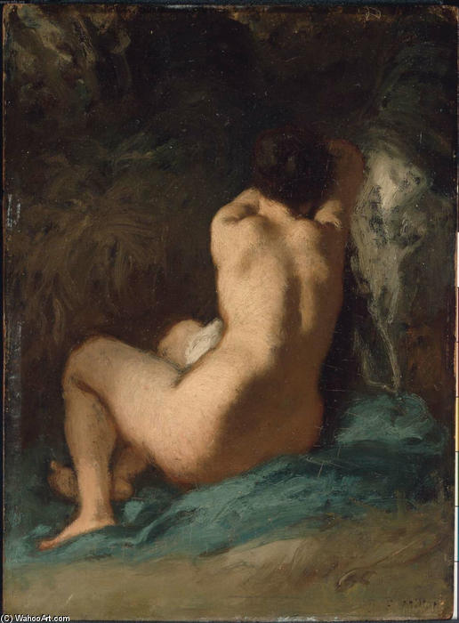 Seated Nude by Jean-François Millet (1814-1875, France) | Museum Quality Reproductions | WahooArt.com