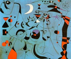Joan Miro - Figure at Night Guided by the Phosphorescent Tracks of Snails