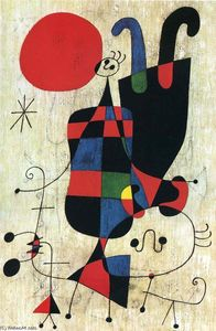 Joan Miro - Figures and Dog in Front of the Sun