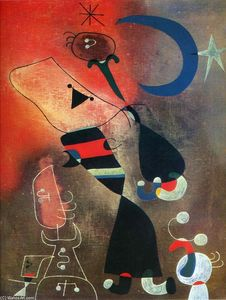 Joan Miro - Woman and Bird in the Moonlight