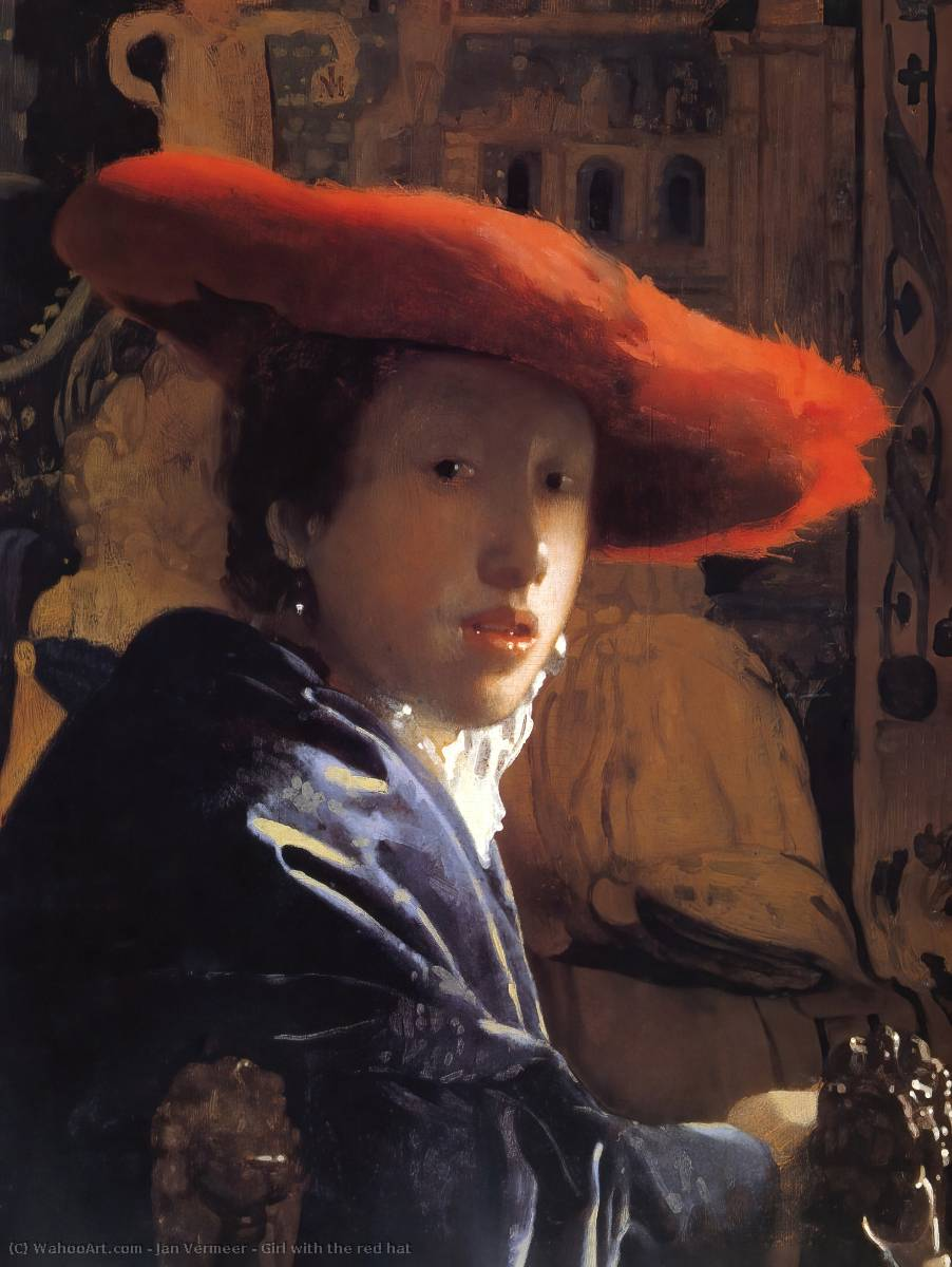 Girl with the red hat, Oil On Canvas by Jan Vermeer (1632-1675, Netherlands)