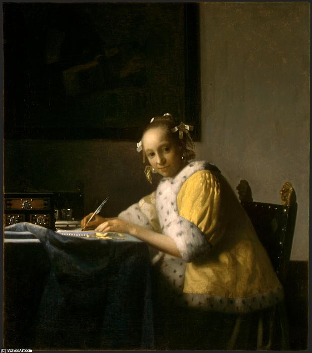 A lady writing, Oil On Canvas by Jan Vermeer (1632-1675, Netherlands)
