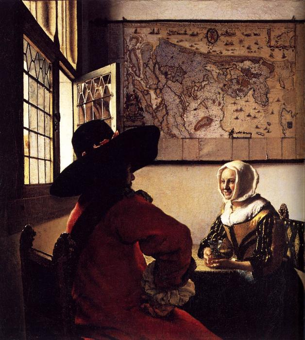 Officer and Laughing Girl, Oil On Canvas by Jan Vermeer (1632-1675, Dutch Republic)