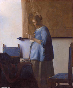 Jan Vermeer - Woman reading a letter (Woman in Blue Reading a Letter)