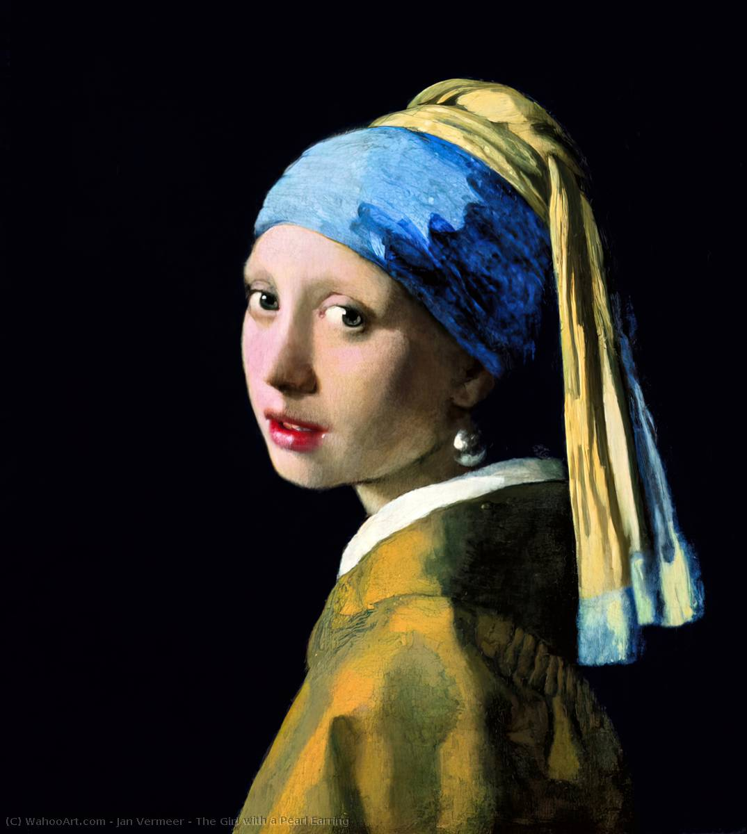 The Girl with a Pearl Earring, Oil On Canvas by Jan Vermeer  (order Fine Art oil painting Jan Vermeer)