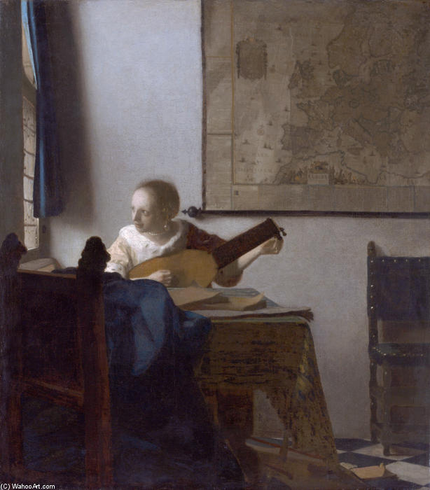 Woman with a lute, 1664 by Jan Vermeer (1632-1675, Netherlands) | WahooArt.com
