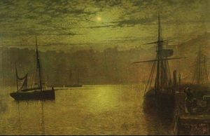 John Atkinson Grimshaw - Lights in the Harbour