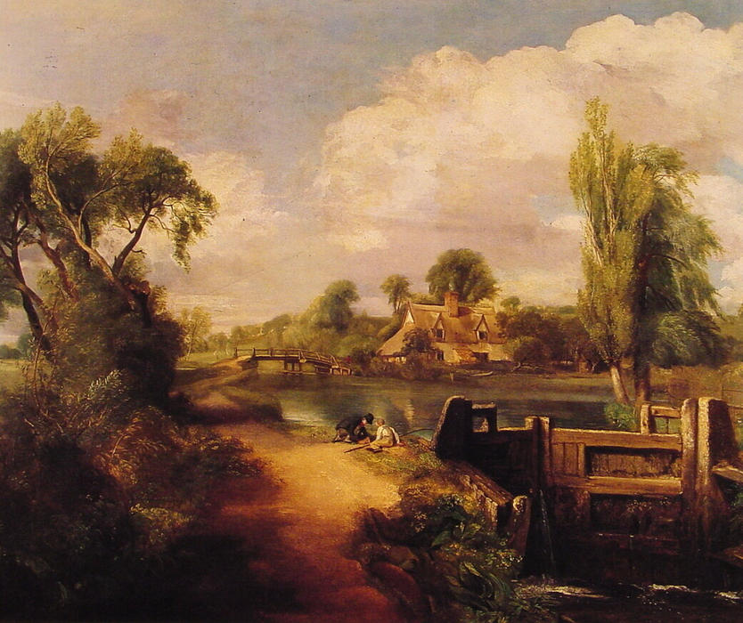 Landscape: Boys Fishing, Oil On Canvas by John Constable (1776-1837, United Kingdom)