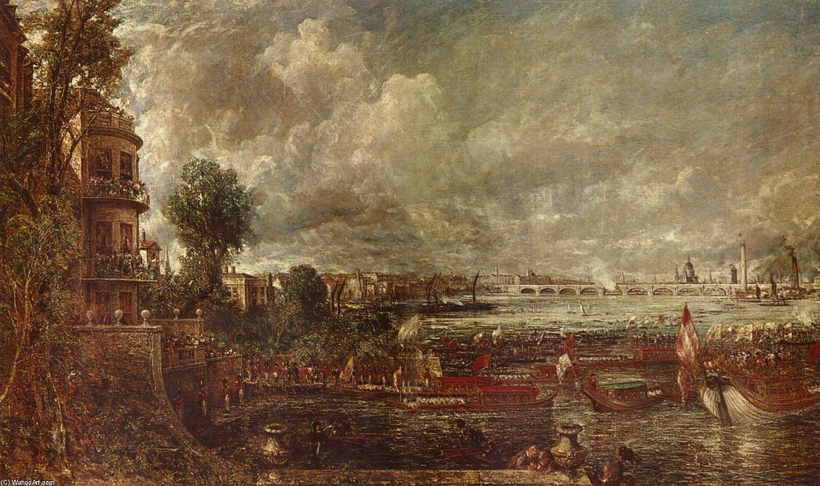 The Opening of Waterloo Bridge seen from Whitehall Stairs, Oil On Canvas by John Constable (1776-1837, United Kingdom)