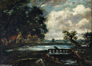 John Constable - Study for The Leaping Horse (View on the Stour)