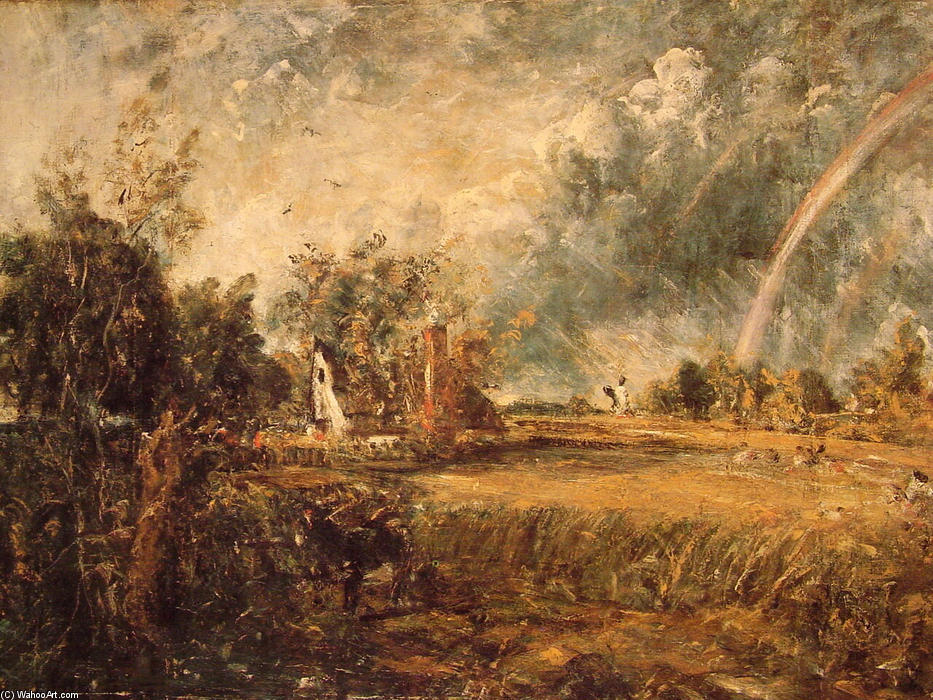 Cottage, Rainbow, Mill, Oil On Canvas by John Constable (1776-1837, United Kingdom)