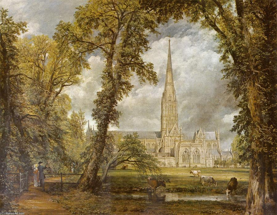 View of Salisbury Cathedral from the Bishop's Grounds, Oil On Canvas by John Constable (1776-1837, United Kingdom)
