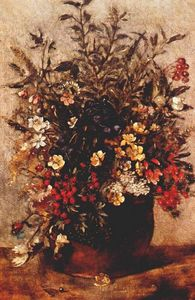 John Constable - Autumn berries and flowers in brown pot