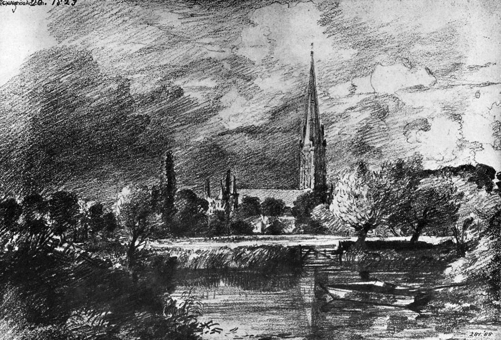 Salisbury cathedral by John Constable (1776-1837, United Kingdom) | Museum Art Reproductions John Constable | WahooArt.com
