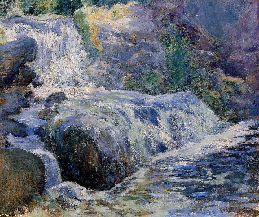 Waterfall, 1899 by John Henry Twachtman (1853-1902, United States) | Painting Copy | WahooArt.com
