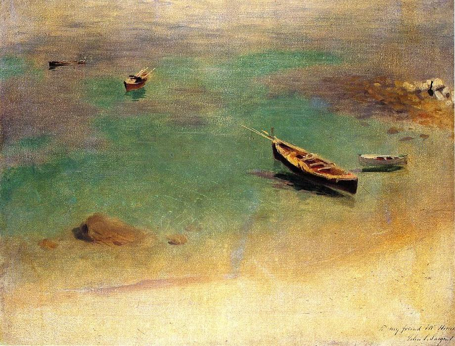 Boat in the Waters off Capri, Oil On Canvas by John Singer Sargent (1856-1925, Italy)