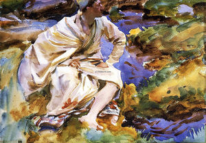 John Singer Sargent - A Man Seated by a Stream