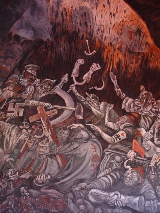 The Clowns of War Arguing in Hell, 1944 by Jose Clemente Orozco (1883-1949, Mexico) |  | WahooArt.com