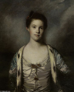 Joshua Reynolds - Portrait of Bridget Moris in a White Silk Dress