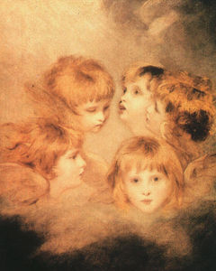 Joshua Reynolds - A Cherub Head in Different Views