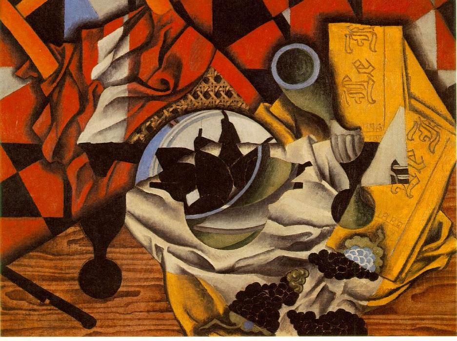 Pears and grapes on a table, 1913 by Juan Gris (1887-1927, Spain)