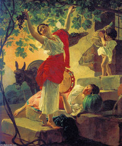 Karl Pavlovich Bryullov - Girl Gathering Grapes in a Suburb of Naples