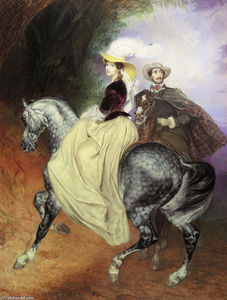 Karl Pavlovich Bryullov - Portrait of Ye. Mussart and E. Mussart. (Riders)