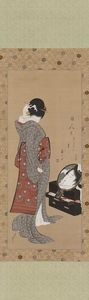 Katsushika Hokusai - Woman Looking at Herself in a Mirror