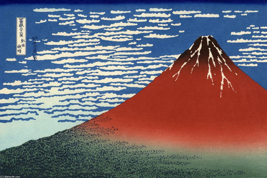 Fuji, Mountains in clear Weather (Red Fuji), Wood by Katsushika Hokusai (1760-1849, Japan)